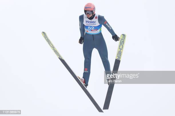 Karl Geiger of Germany jumps during the qualification round of the HS130 men's ski jumping Competition of the FIS Nordic World Ski Championships at...