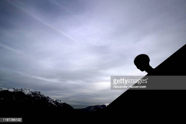 Karl Geiger of Germany looks on prior to a training session for the 68th FIS Nordic World Cup Four Hills Tournament at BergiselStadion Olympiaschanze...