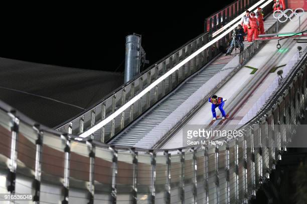 Karl Geiger of Germany makes a trial jump during the Ski Jumping Men's Normal Hill Individual Final on day one of the PyeongChang 2018 Winter Olympic...