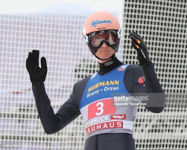 Karl Geiger of Germany reacts after his second round jump during the 68th FIS Nordic World Cup Four Hills Tournament at BergiselStadion...