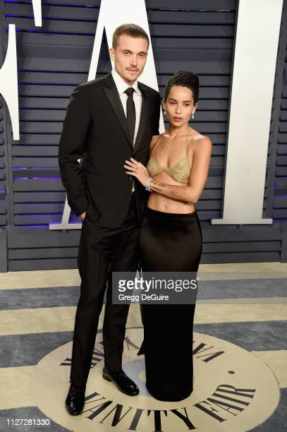 Karl Glusman and Zoë Kravitz attend the 2019 Vanity Fair Oscar Party hosted by Radhika Jones at Wallis Annenberg Center for the Performing Arts on...