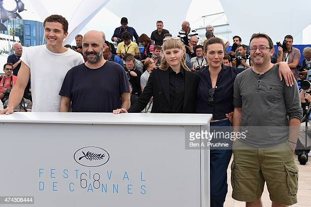 Karl Glusman Gaspar Noe Klara Kristin Aomi Muyock and Vincent Maraval attend the press conference for Love during the 68th annual Cannes Film...
