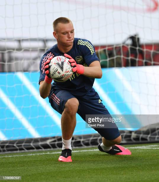 Karl Hein of Arsenal before the FA Cup Semi Final match between Arsenal and Manchester City at Wembley Stadium on July 18 2020 in London England
