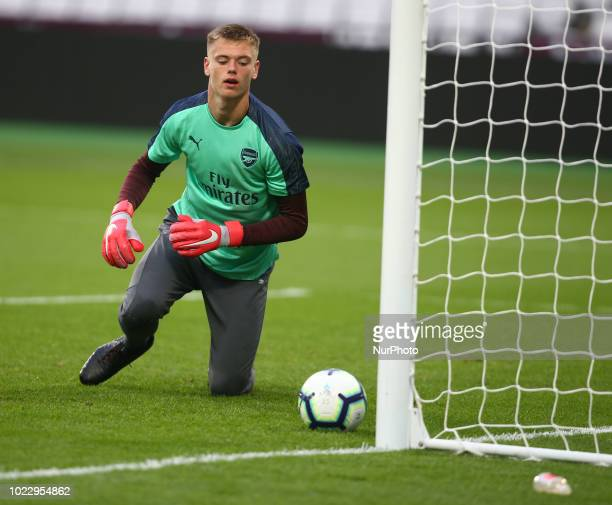 Karl Hein of Arsenal during Premier League 2 match between West Ham United Under 23s and Arsenal Under 23s at London stadium London England on 24...