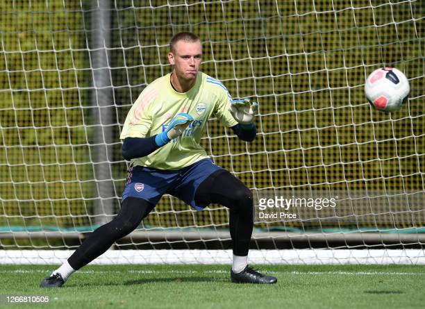 Karl Hein of Arsenal during the Arsenal U23 training session at London Colney on August 17, 2020 in St Albans, England.