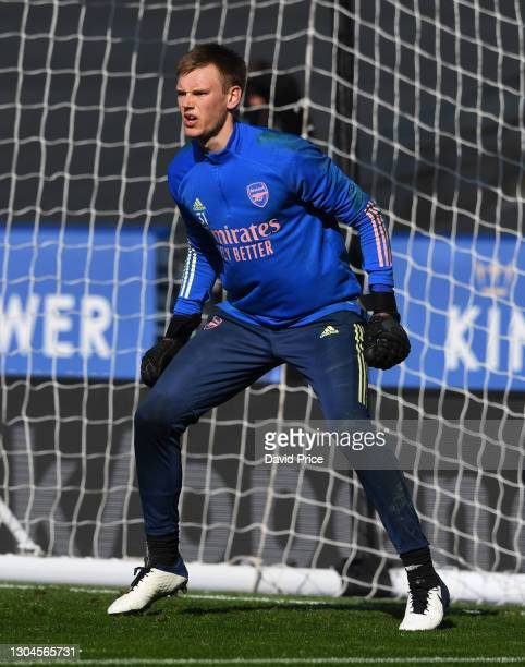 Karl Hein of Arsenal warms up before the Premier League match between Leicester City and Arsenal at The King Power Stadium on February 28, 2021 in...