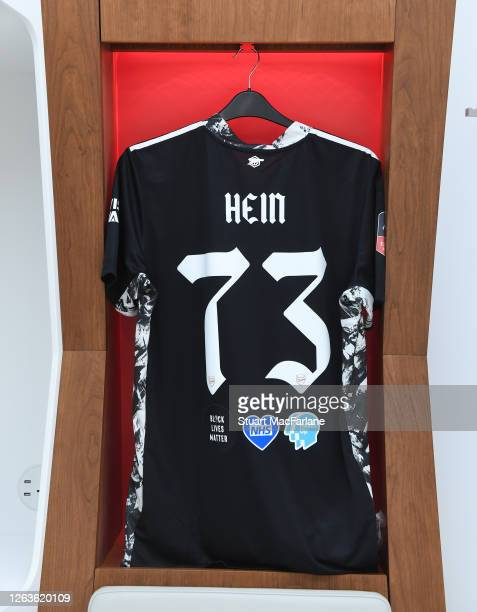 Karl Hein shirt in the Arsenal changing room before the FA Cup Final match between Arsenal and Chelsea at Wembley Stadium on August 01 2020 in London...