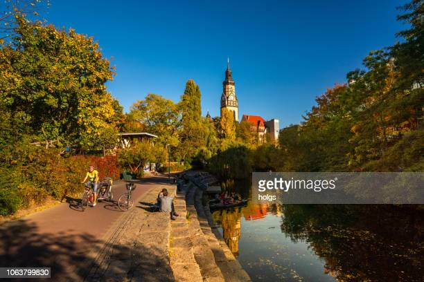 Karl Heine Canal, Church, Bell tower in Augustusplatz, Leipzig, Germany