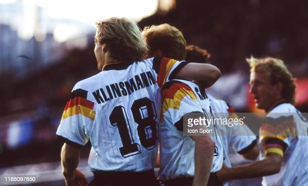 Karl Heinz Riedle of Germany celerate his goal with his team-mates during the European Championship match Germany and Sweden at Rasunda Stadium,...
