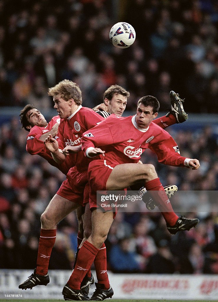 Karl Heinz Riedle, Steve Staunton and Jamie Carragher of Liverpool rise to deny the ball to Duncan Ferguson of Newcastle United on 28th December 1998 during their FA Carling Premiership match at Anfield in Liverpool, United Kingdom.