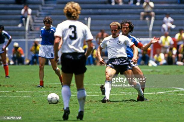 Karl Heinz Rumenigge of West Germany FRG during the World Cup semi final match between West Germany FRG and France played in Guadalajara Mexico on...