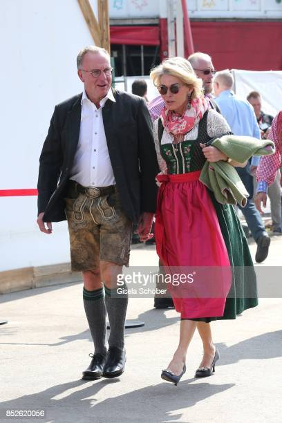 Karl Heinz Rummenigge and his wife Martina Rummenigge attend the FC Bayern Wies'n as part of the Oktoberfest at Theresienwiese on September 23 2017...