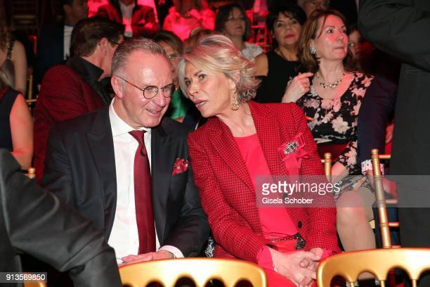 Karl Heinz Rummenigge and his wife Martina Rummenigge during Michael Kaefer's 60th birthday celebration at Postpalast on February 2 2018 in Munich...
