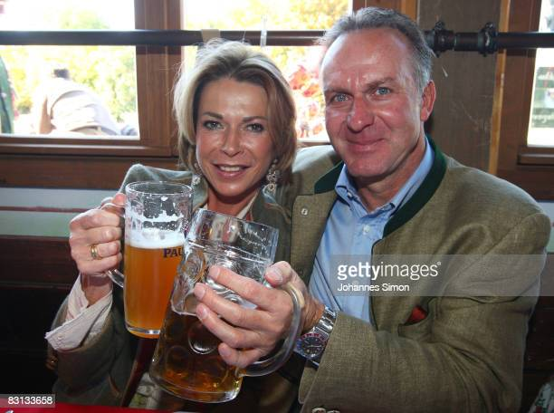 Karl Heinz Rummenigge of Bayern Muenchen and wife Martina attend the Kaefer beer tent at the Oktoberfest beer festival on October 5 2008 in Munich...