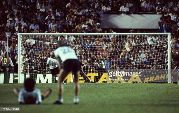 Karl Heinz Rummenigge of Germany score a penalty during of the game Semi Final World Cup match between West Germany and France 8th July 1982 in Ramon...