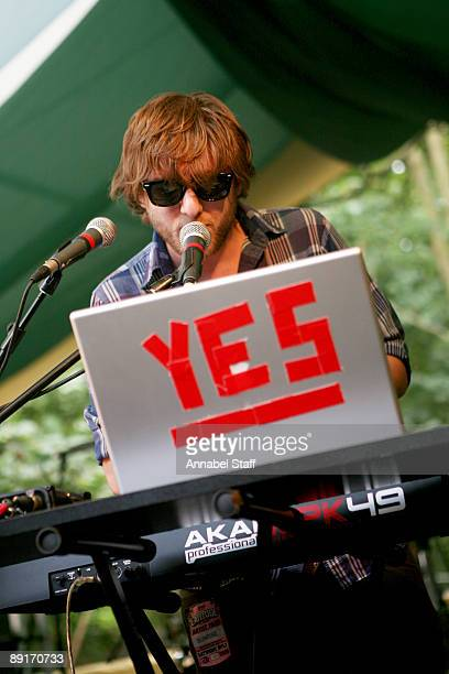 Karl Hohn of Yes Giantess performs on stage on the second day of Latitude Festival at Henham Park Estate on July 17 2009 in Southwold England