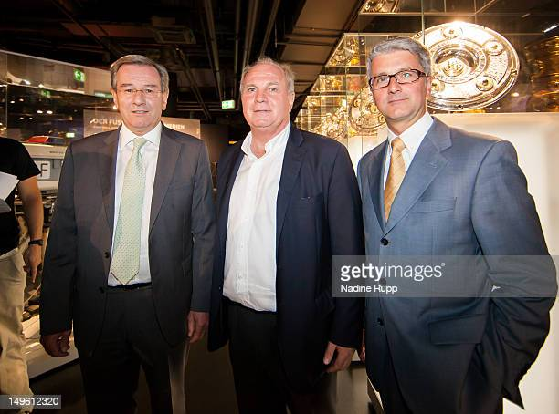 Karl Hopfner president od FC Bayern Uli Hoeness and CEO of Audi Rupert Stadler during the FC Bayern Erlebniswelt Opening Ceremony at Allianz Arena on...