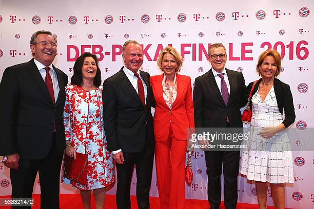 Karl Hopfner with his wife KarlHeinz Rummenigge CEO of Bayern Muenchen and his wife Martina Rummenigge JanChristian Dreesen CFO of Bayern Miuenchen...