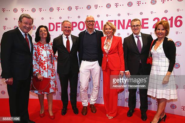 Karl Hopfner with his wife KarlHeinz Rummenigge CEO of Bayern Muenchen Timotheus Hoettges CEO of Deutsche Telekom AG Martina Rummenigge JanChristian...