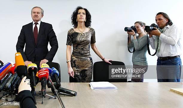 Karl Huber President of the Higher Regional Court Munich and Andrea Titz deputy press speaker of the Higher Regional Court Munich address a press...