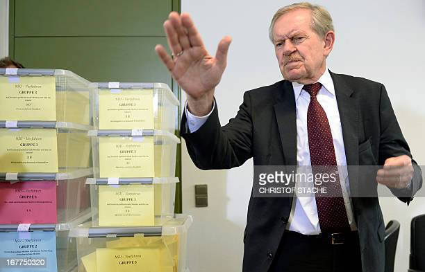 Karl Huber President of the Higher Regional Court Munich attends a press conference on April 29 2013 in Munich after the lottery for the reserved...