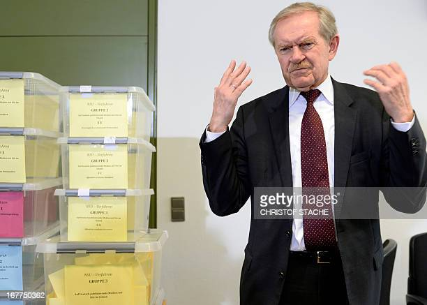 Karl Huber President of the Higher Regional Court Munich gestures during a press conference on April 29 2013 in Munich southern Germany following the...
