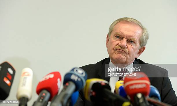 Karl Huber President of the Higher Regional Court Munich reacts during a press conference on April 29 2013 in Munich southern Germany following the...