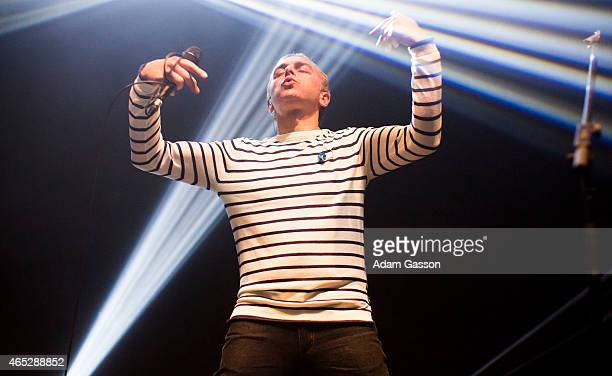 Karl Hyde of Underworld performs on stage at Colston Hall on March 5 2015 in Bristol United Kingdom