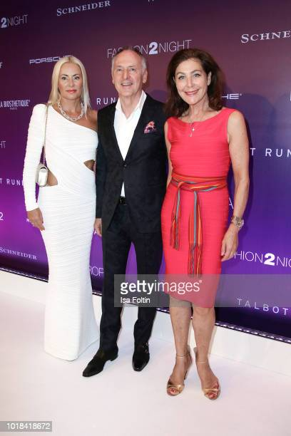 Karl J Pojer with his wife Jacqueline Pojer and Alexandra von Rehlingen during the FASHION2NIGHT event on board the EUROPA 2 on August 17 2018 in...