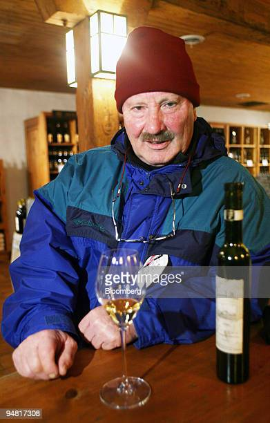Karl Kaiser Inniskillin cofounder and icewine maker poses for a photograph in the tasting and sales boutique at the company's vineyard in Niagara on...