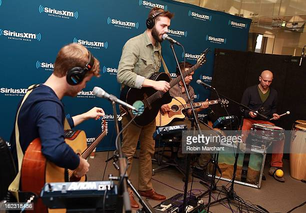 Karl Kerfoot, Ben Schneider, Tom Renaud and Mark Barry of Lord Huron visit at SiriusXM Studios on February 21, 2013 in New York City.