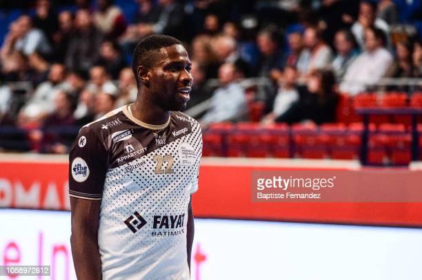 Karl Konan of Pays d'Aix Universite during the Lidl Starligue match between Paris Saint Germain and Pays d'Aix Universite Club at Stade Pierre de...