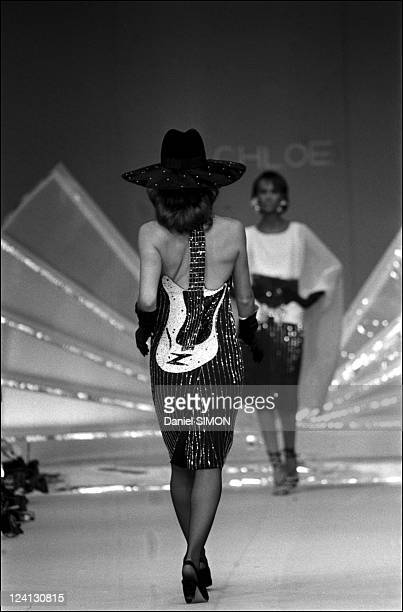 Karl Lagarfeld presents Chloe's spring summer ready to wear collections In Paris France In October 1981