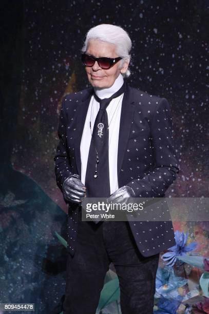 Karl Lagerfeld acknowledges the audience after the Fendi Haute Couture Fall/Winter 20172018 show as part of Haute Couture Paris Fashion Week on July...