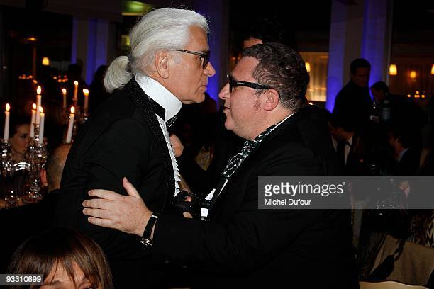 Karl Lagerfeld and Alber Elbaz attend the OTM Association dinner hosted by Babeth Djian and Pierre Pelegry to raise funds for the children of Rwanda...