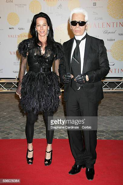 Karl Lagerfeld and Amanda Harlech arrive at the Valentino's party held at the Temple of Venus in Rome