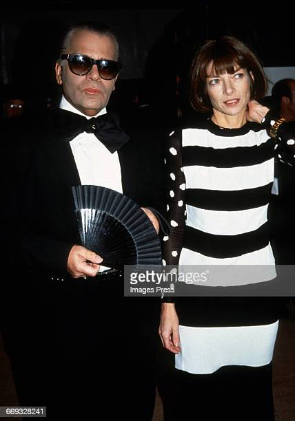 Karl Lagerfeld and Anna Wintour attend the 12th Annual Council of Fashion Designers of America Awards at Lincoln Center circa 1993 in New York City