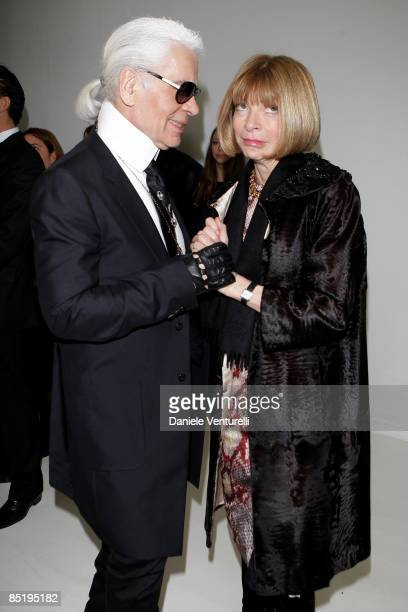 Karl Lagerfeld and Anna Wintour talk backstage prior to the Fendi show during Milan Fashion Week Womenswear Autumn/Winter 2009 on March 2 2009 in...