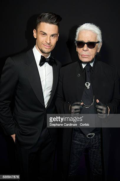 Karl Lagerfeld and Baptiste Giabiconi attend the Karl Lagerfeld New Perfume launch party at Palais Brongniart in Paris