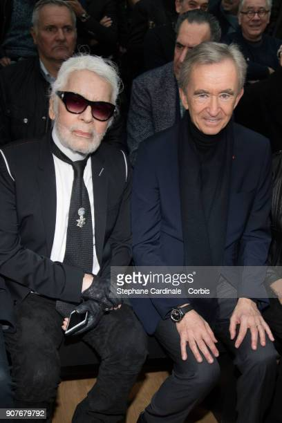 Karl Lagerfeld and Bernard Arnault attend the Dior Homme Menswear Fall/Winter 20182019 show as part of Paris Fashion Wee January 20 2018 in Paris...