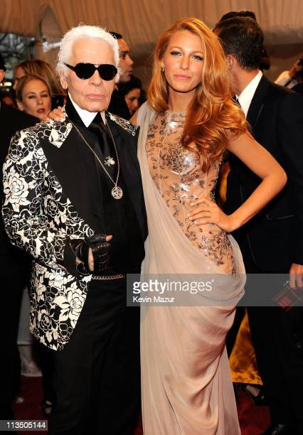 Karl Lagerfeld and Blake Lively attends the Alexander McQueen Savage Beauty Costume Institute Gala at The Metropolitan Museum of Art on May 2 2011 in...