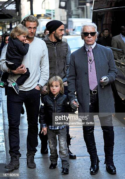 Karl Lagerfeld and Brad Kroenig along with Hudson Kroenig seen on November 06 2013 in New York City