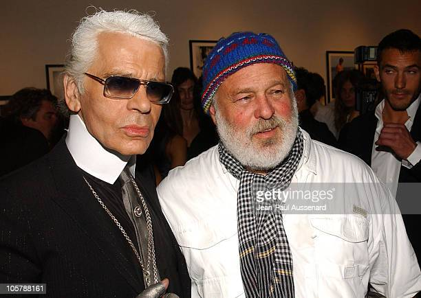 Karl Lagerfeld and Bruce Weber during Bruce Weber's 'Whirligig' Show Opening at Fahey / Klein Gallery in Los Angeles California United States