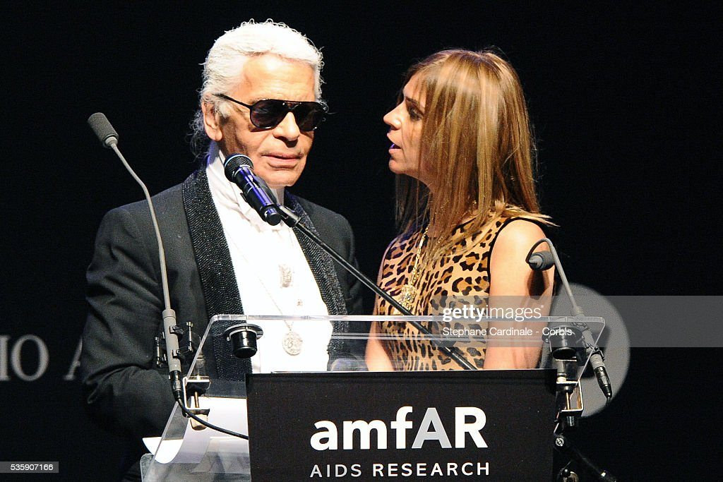 Karl Lagerfeld and Carine Roitfeld attend the '2010 amfAR's Cinema Against AIDS Gala'