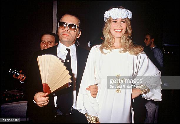 Karl Lagerfeld and Claudia Schiffer at the Chanel fashion show fall winter 1992