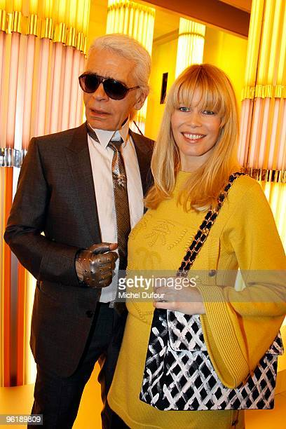 Karl Lagerfeld and Claudia Schiffer attend at the photocall during the Chanel HauteCouture show as part of the Paris Fashion Week Spring/Summer 2010...