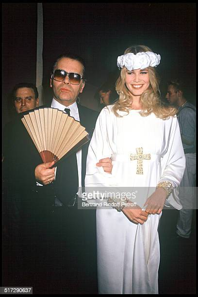 Karl Lagerfeld and Claudia Schiffer Chanel Haute Couture fashion show fall winter 1991 1992 collections in Paris