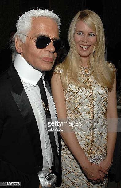Karl Lagerfeld and Claudia Schiffer during Marie Claire Prix de la Mode 2006 at French Ambassador`s Residence in Madrid Spain