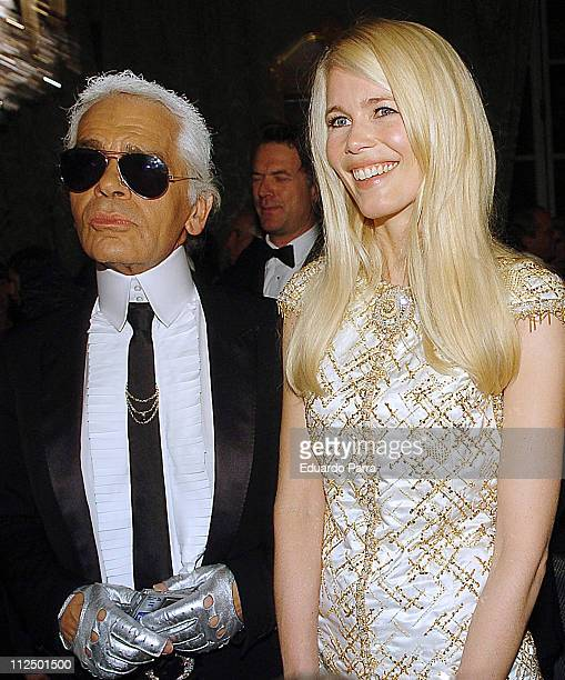 Karl Lagerfeld and Claudia Schiffer during Marie Claire's IV Fashion Prizes Party - November 22, 2006 at Residence of the French Ambassador in...