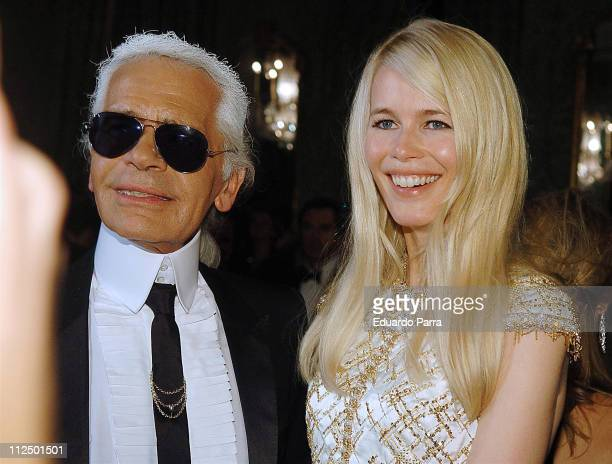 Karl Lagerfeld and Claudia Schiffer during Marie Claire's IV Fashion Prizes Party November 22 2006 at Residence of the French Ambassador in Madrid...